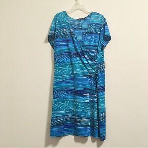 2/$20 Elementz Ocean Wave Stripe Wrap Dress 1X